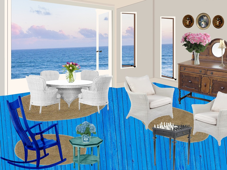 illustration gratuite cottage bord de mer fleurs image gratuite sur pixabay 1593570. Black Bedroom Furniture Sets. Home Design Ideas