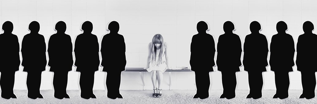 Woman, Girl, Sit, Bank, Silhouettes