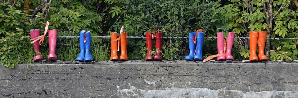Rubber Boots, Shoes, Boots, Rain, Pink, Blue, Orange