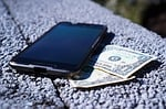 mobile phone, money, banknotes