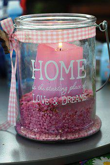 Deco, Home, Garden, Candle, Pink, Glass