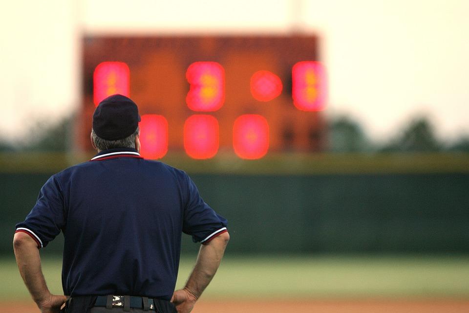 Umpire, Sports Official, Scoreboard, Baseball, Game