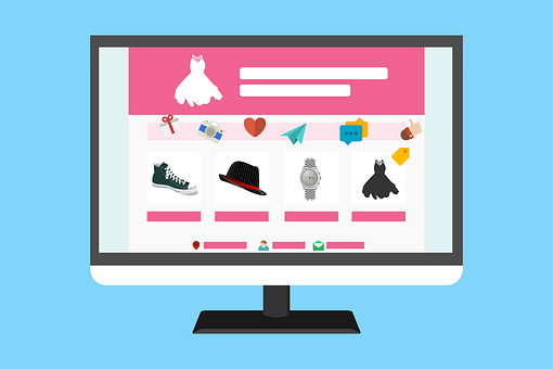 Drawing of a website with a store to signify 7 steps to running an online business successfully