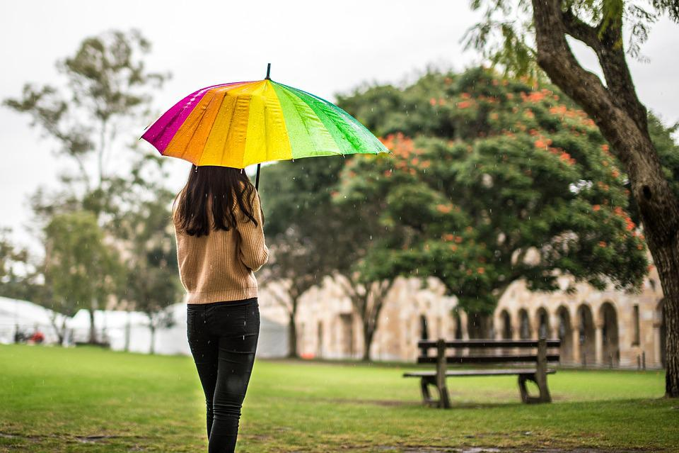 Regen, Regenschirm, Mädchen, Melancholie, Campus, Bank