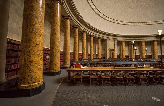 Library, Manchester, Interior, Pillars