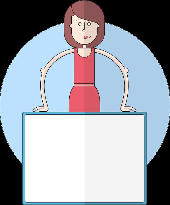 女性, ビジネス, プレゼンテーション, ジオメトリック, フラット, 基本色, 自信を持って, ビジネス女性
