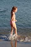 girl, beach, play