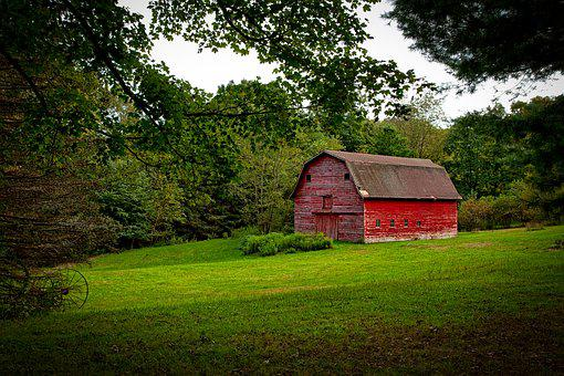 Red Barn, Farm, Rustic, Countryside, Connecticut