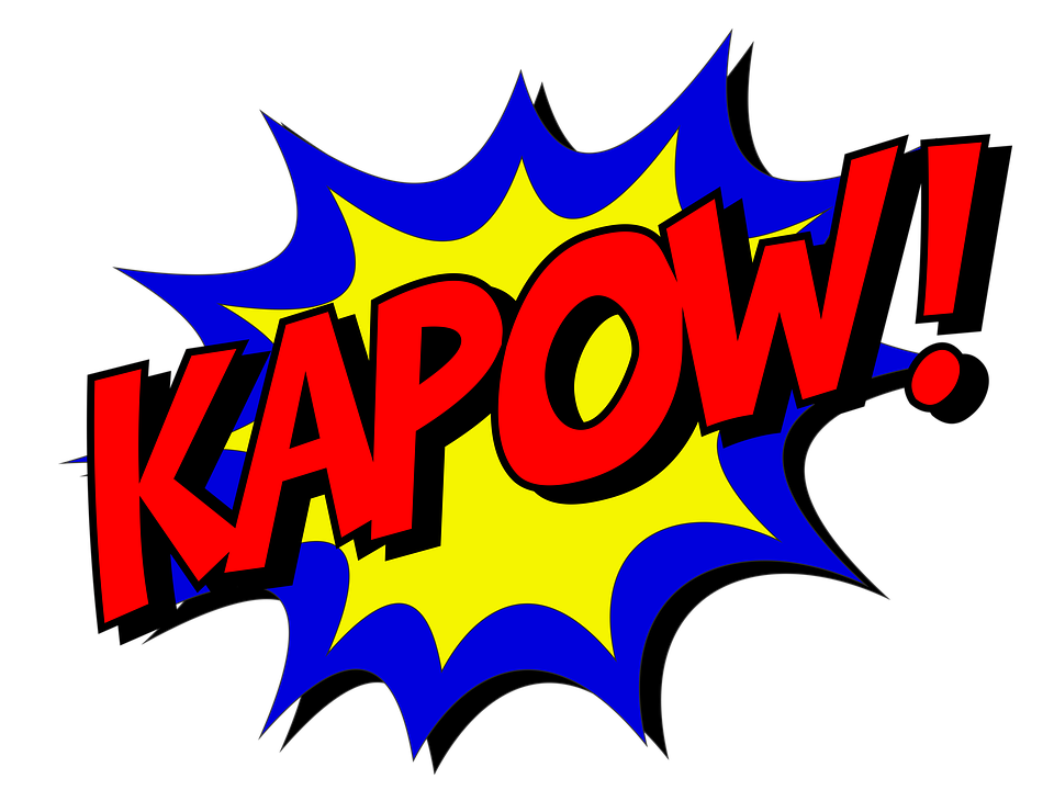Kapow, Comic, Comic Book, Fight, Explosion, Expletive
