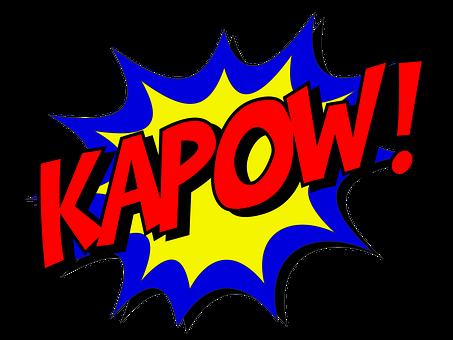 Kapow Comic Comic-Buch Kampf Explosion Kra