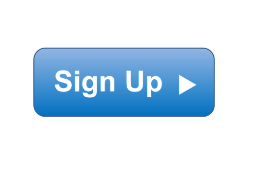 A blue triangular Call-To-Action button reading Sign up