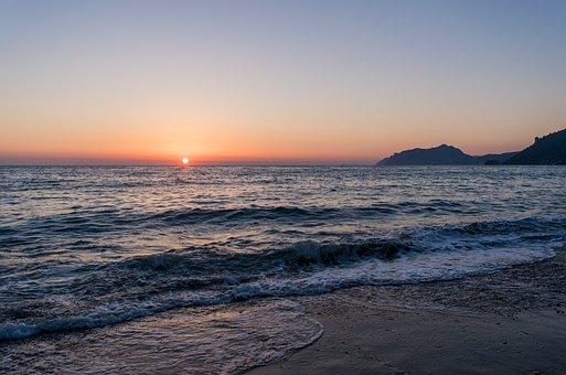 Sunset, Beach, Water, Sea, Afterglow