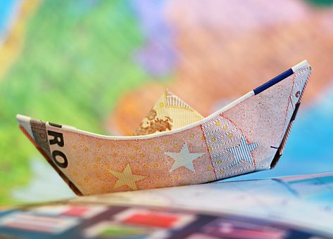 Euro Ship Money Sailboat Origami Map