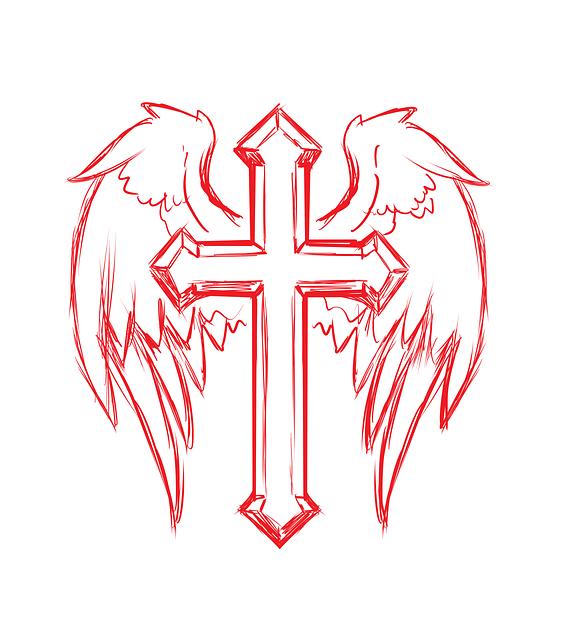 cross wings tattoo free image on pixabay. Black Bedroom Furniture Sets. Home Design Ideas