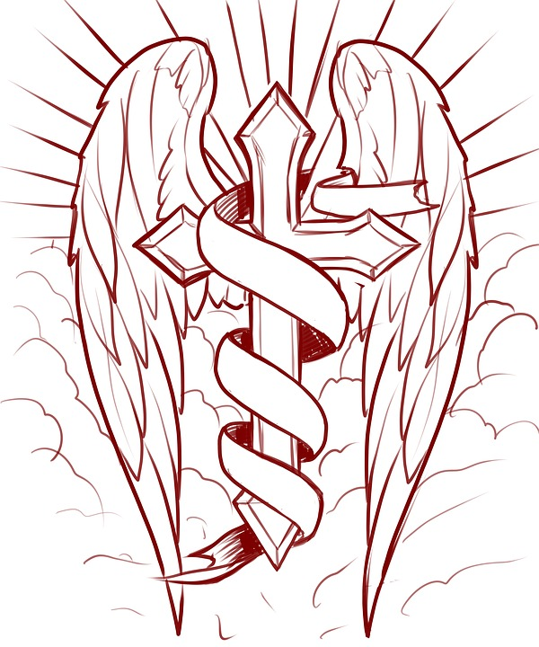 Cross Wings Banner Light Clouds Religion Faith