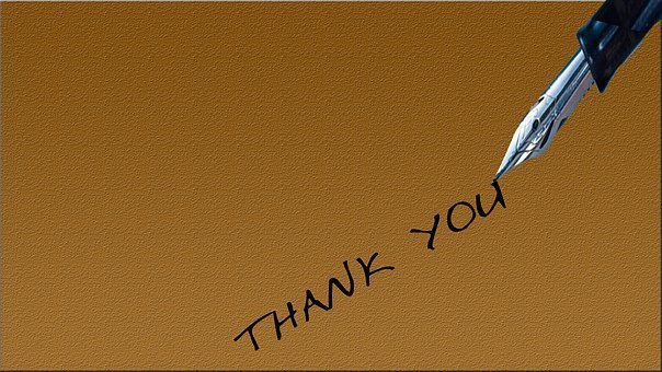Thank you written on a brown paper with a fountain pen as part of online awarebness creation 8: blogging