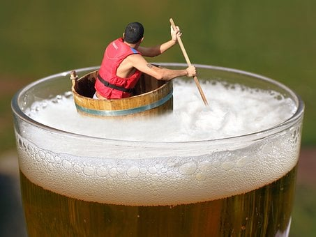 Beer, Afloat, Drifting, Indulge, Tub