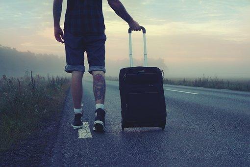 ハイカー, 旅行者, 旅, 旅行, 男, 行きます, スーツケース, タトゥー