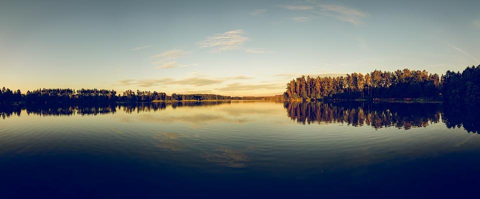 Jezioro, Niebo, Odbicie, Wody, Chmury, Lato, Urlop