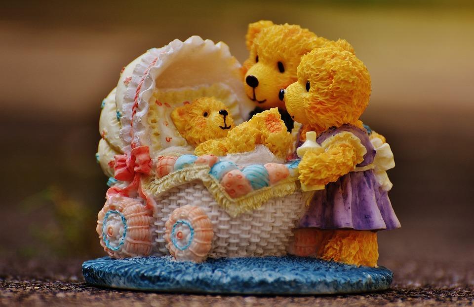 Familie, Bären, Figuren, Lustig, Einladung, Eltern