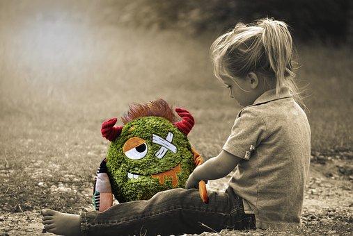 Little Girl, Toddler, Sitting, Monster