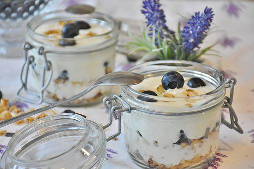 Yogurt, Berries, Blueberries, Dessert