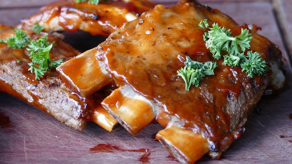 เนื้อสัตว์, ซี่โครงหมู, กิน, ย่าง, หมัก, อาหาร, อร่อย