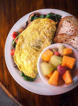 Breakfast, Eggs, Fruit, Table, Food