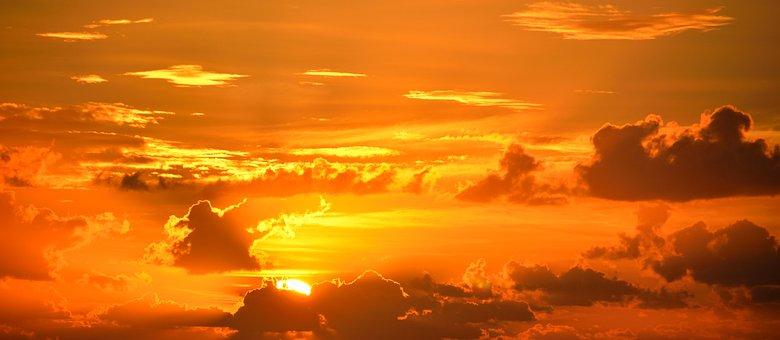 Pulsierenden Farbe Sonnenaufgang Orange Ma