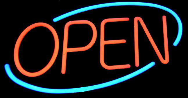 Open Sign, Sign, Signage, Neon, Light