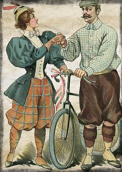 Couple, Bicycle, Vintage, Advertisement