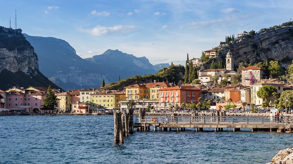 Lago, Vista, Montagne, Garda, Italia, Outlook, Acque