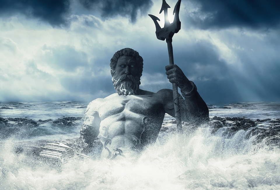 poseidon, sea- god,