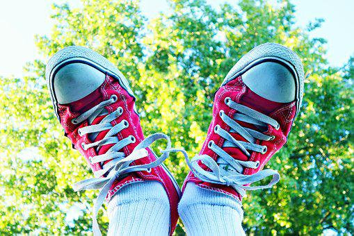 Füße, Schuh, Turnschuhe, Weiblich