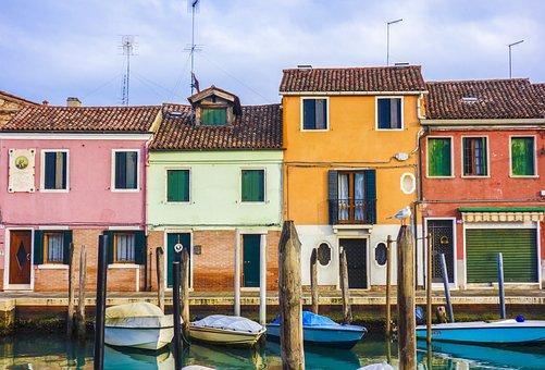 Häuser, Boote, Straße, Kanal, Venedig