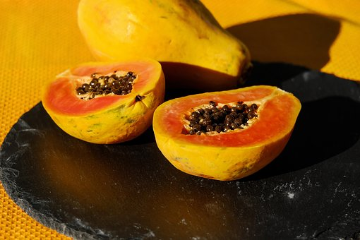 Papaya, Fruit, Cut In Half, Cut
