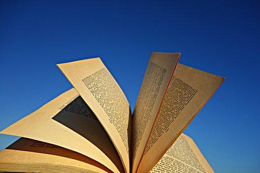 书, 页面, 纸, 字母, 线路, 开放, 已打开的书, 天空, 故事, 文学