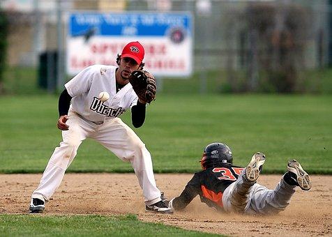 棒球, 第二基地, 行动, 滑动, 安全, 球, 游戏, 竞争, 千钧一发