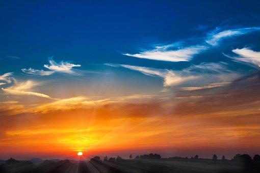サンセット, 太陽, Abendstimmung, 太陽が設定, 日光, 残光