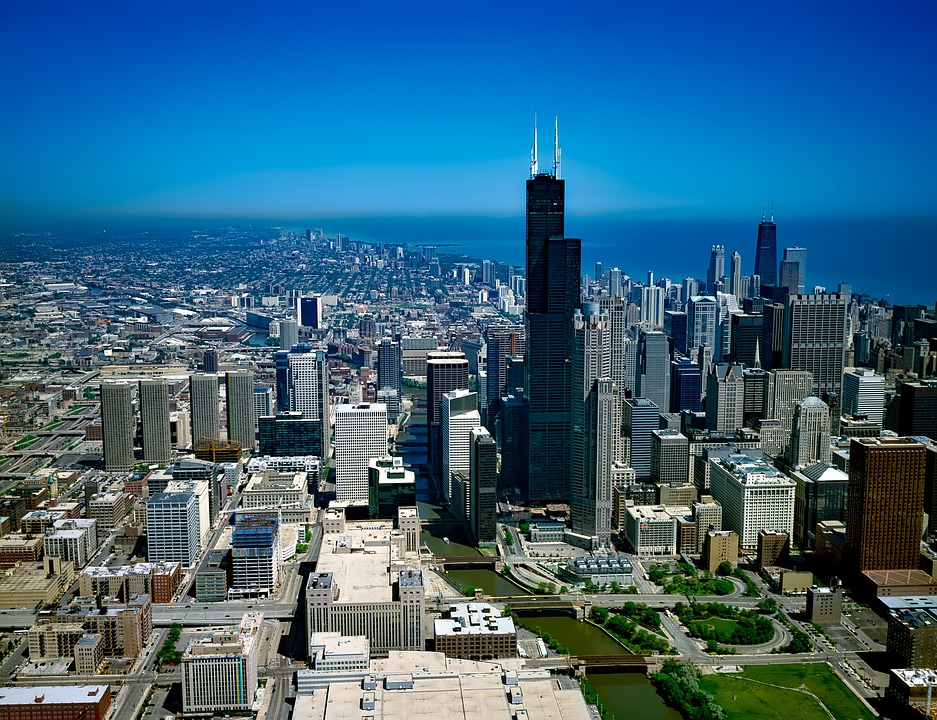 Chicago, Illinois, Arkitektur, Byggnad, Centrum