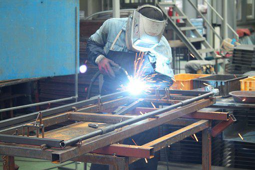 溶接, 工場, 製造, パレット, 労働者, 作業, 日, 勤務, アーク溶接
