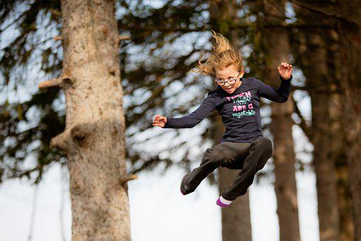 Jumping, Young Girl, Trampoline, Young