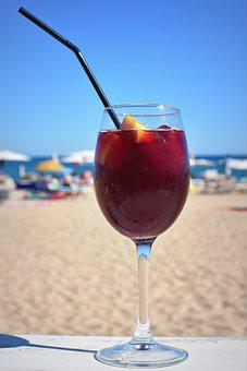 Sangria Wine Straw Drink Alcohol Sea Beach