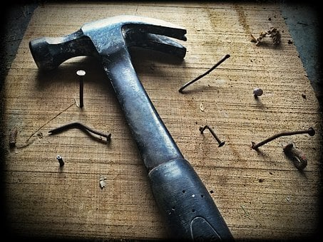 Hammer, Nails, Wood, Board, Tool, Work