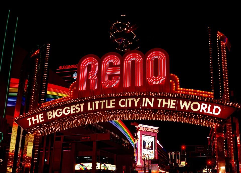 Reno, Nevada, City, Urban, Sign, Neon, Lights, Bright