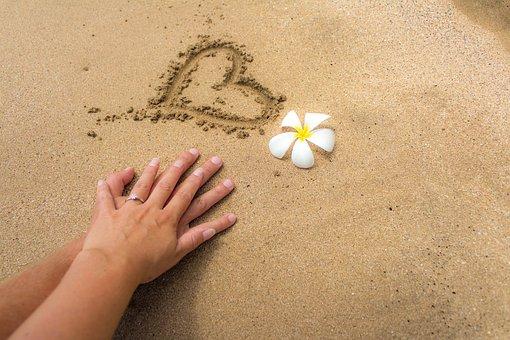 砂, 婚約者, 愛, 心, 花, ハワイ, マウイ島, 手, リング