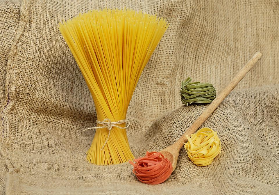 Tagliatelle, Spaghetti, Pasta, Giallo, Colorato, Raw