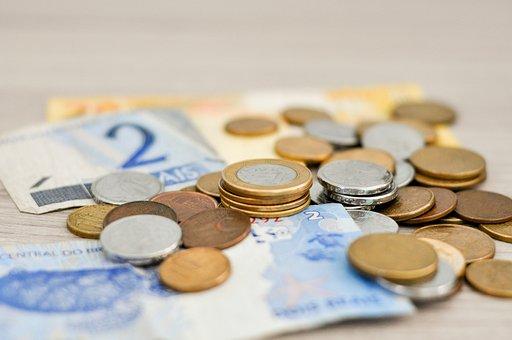 Geld, Gehalt, Münzen, Real, Notizen