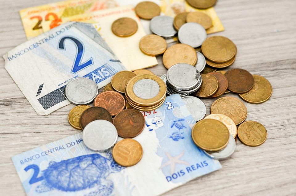 お金, 金融, メモ, 実際, ブラジルのお金, 貯蓄, 経済, ファイナンス, コイン, 給与, リアル