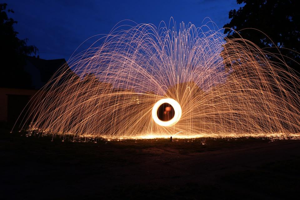 Free Photo Light Painting Steel Wool Night Free Image